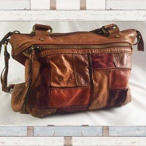 Fossil shoulder handbag patchwork leather rough